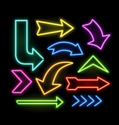 Neon glowing arrow pointer set on dark background vector