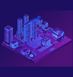 night city district ultraviolet panorama outdoor vector image
