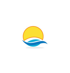 ocean wave sun logo vector image