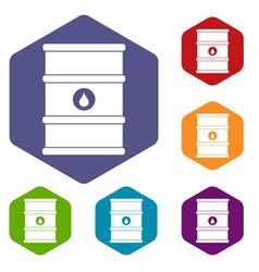 Oil barrel icons set hexagon vector