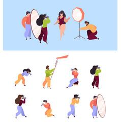 photographers working professional paparazzi vector image