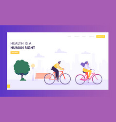 Physical male and female riding bicycle web page vector