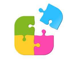 puzzle icon of four pieces jigsaw game icon vector image