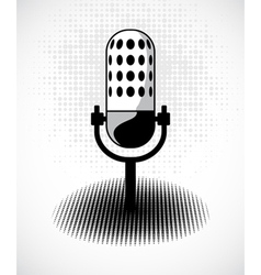 Retro microphone on dots card vector image