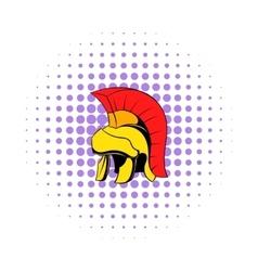 Roman legionary helmet icon comics style vector