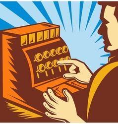 Sales clerk or cashier with cash register till vector
