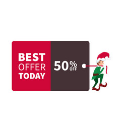 santa claus elf walking with promotion sign and di vector image