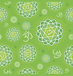 Seamless pattern with anahata chakra vector