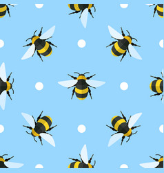 seamless pattern with bees and circles vector image