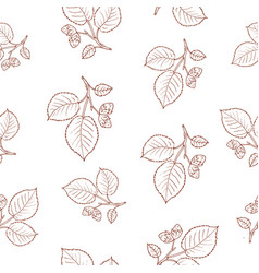 seamless pattern with hazelnut tree branches vector image