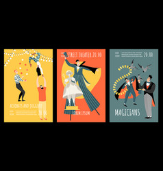 set banners acrobats magicians street theater vector image