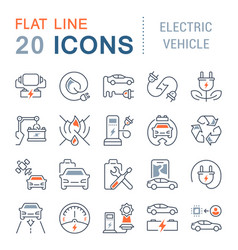 Set line icons electric vehicle vector