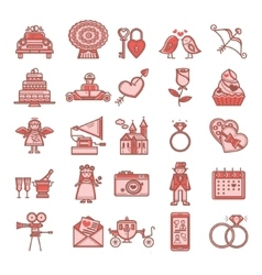 Set of linear icons Valentine s Day vector image
