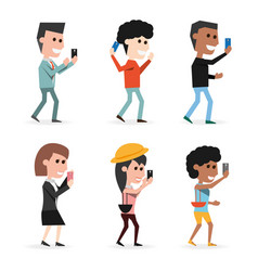 Set people with technology smartphone in the hand vector