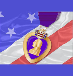 silk flag and purple heart vector image
