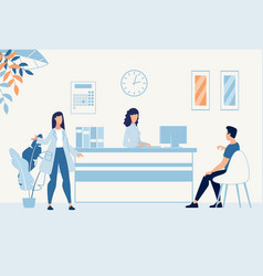 Situation in hospital hall at reception desk vector