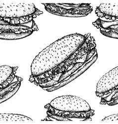 Sketch hamburger or burger seamless pattern fast vector