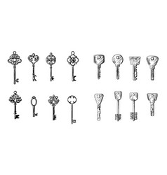 sketch hand drawn collection of keys from vector image
