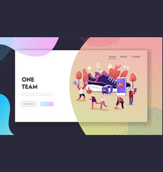 Smart shoes landing page template tiny characters vector