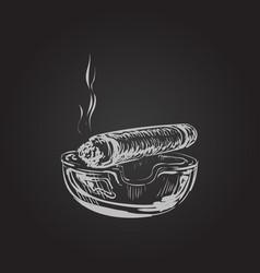 smoking cigar with ashtray vector image
