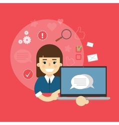 Social media banner Girl with laptop vector