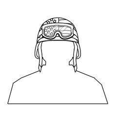soldier silhouette and helmet black and white vector image