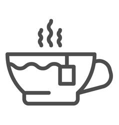 tea cup line icon hot tea vector image