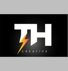 th letter logo design with lighting thunder bolt vector image