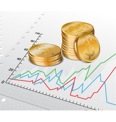 Trade diagram with golden coins vector image vector image