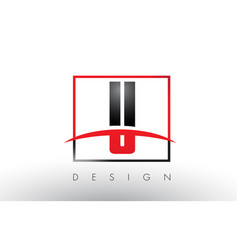 U logo letters with red and black colors and vector