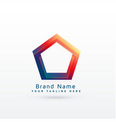 vibrant geometric pentagonal shape logo concept vector image