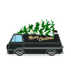 Vintage green car with christmas tree christmas vector