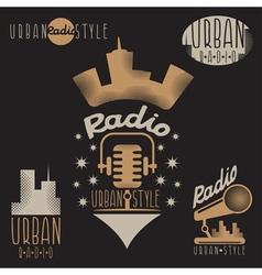 Vintage labels of urban radio with microphone and vector