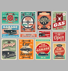 Vintage road vehicle repair service gas station vector
