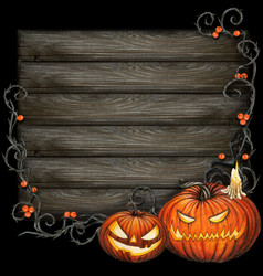 watercolor dark halloween sign with carved vector image