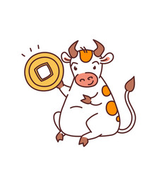 white metal bull with lucky coin - chinese new vector image