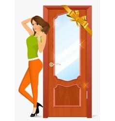 Woman standing near the door vector