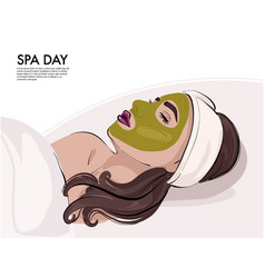 Woman with face mask in cosmetology cabinet vector