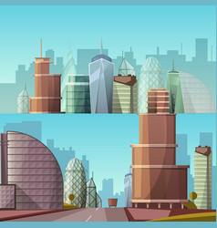cityscape city and nature vector image vector image