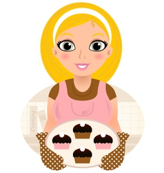 Retro Cooking blond Woman serving sweet food vector image vector image