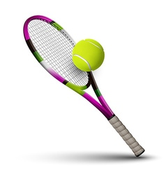 Tennis symbols racket and ball isolated on white vector image vector image