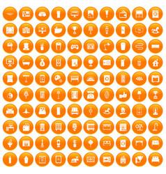 100 interior icons set orange vector image vector image