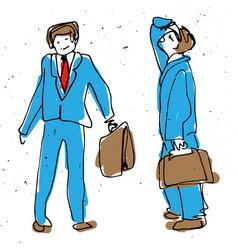 businessman cartoon sketch drawing childish style vector image