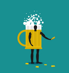 Mug of beer mascot man promoter male in suit vector