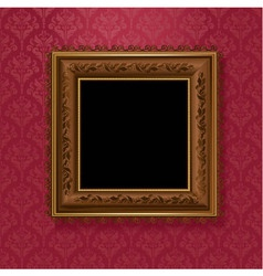 picture frame on vintage wallpaper vector image