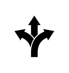 three-way direction arrow icon road direction sign vector image
