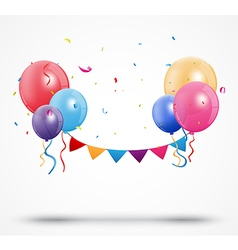 Balloon with confetti and birthday bunting flags vector image vector image