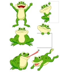 Cute frog cartoon collection set vector image