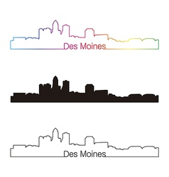 Des Moines skyline linear style with rainbow vector image