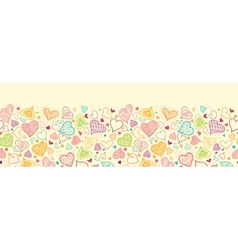 Doodle Hearts Horizontal Seamless Pattern vector image vector image